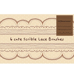 six cute hand written style or scribble style lace vector image
