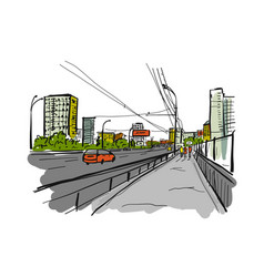 Sketch traffic road in city for your design vector