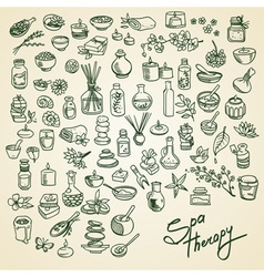 spa doodle icons set vector image