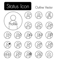 status icon person icon with many status and text vector image