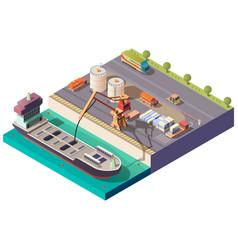 tanker ship loading in port isometric vector image