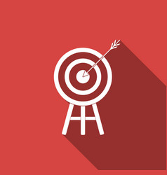 target with arrow icon isolated with long shadow vector image