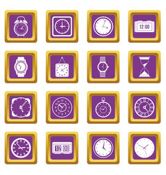 time and clock icons set purple vector image