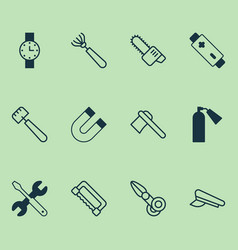 Tools icons set collection of harrow clippers vector