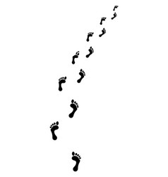 trail of human bare footsteps vector image