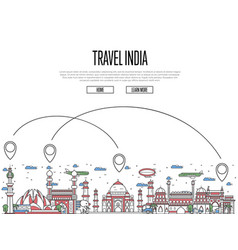 Travel india poster in linear style vector