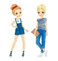 Two Girls Dressed In Denim vector image