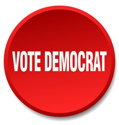 Vote democrat red round flat isolated push button vector