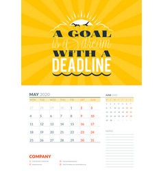 Wall calendar template for may 2020 design print vector