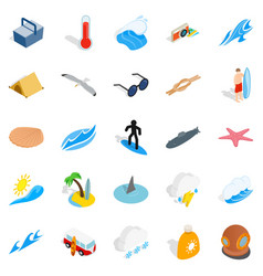 waves icons set isometric style vector image