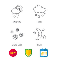 Weather snowflakes and rain icons moon night vector