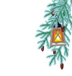 Winter fir and flashlight vector image