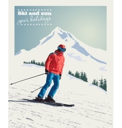 winter poster background Advanced skier vector image