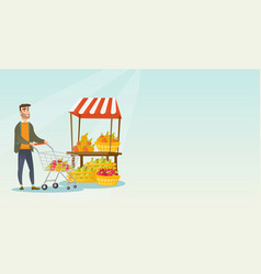 young caucasian man pushing a supermarket cart vector image