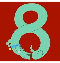 A dog makes number eight vector image