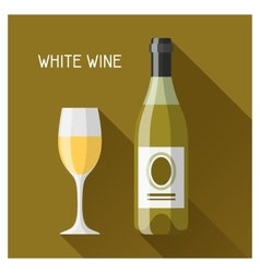 Bottle and glass of white wine in flat design vector image
