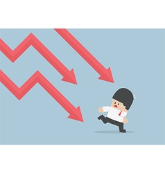 Businessman run away from falling graph downtrend vector