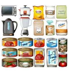 canned food and electronic kitchen devices vector image