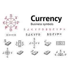 Dollar Euro Pound Yen Ruble Rupee Shexel vector image