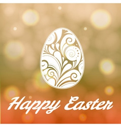 Easter egg with floral ornament on bright bokeh ba vector image vector image