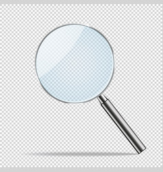 magnifier transparent realistic magnifying vector image vector image