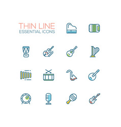 musical instruments - line icons set vector image vector image