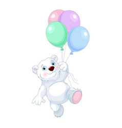 polar bear flying with balloons vector image