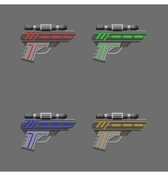Video game weapon pistols set vector