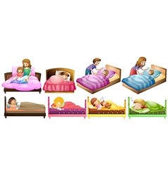 Boys and girls in bed vector image vector image