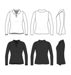 set of female polo shirt vector image vector image