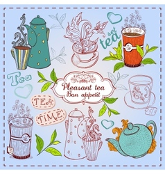 Cute hand drawn teapots cups and cupcakes vector image