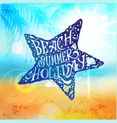 let the sunshine in summer beach poster vector image vector image