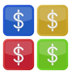 set of four square icons - dollar currency symbol vector image vector image