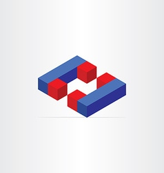 3d magnets letter c icon vector image
