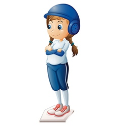 A female baseball player wearing a blue uniform vector image vector image
