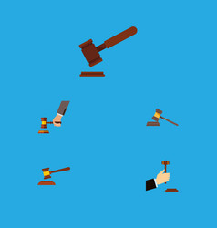 flat icon hammer set of crime law court and vector image vector image