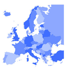political map of europe in four shades of blue on vector image