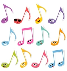 Set of cute colorful note smileys vector image vector image