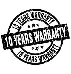 10 years warranty round grunge black stamp vector image