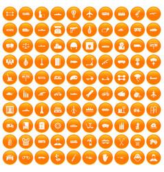 100 burden icons set orange vector