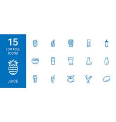 15 juice icons vector