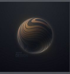 3d sphere textured with wavy striped pattern vector
