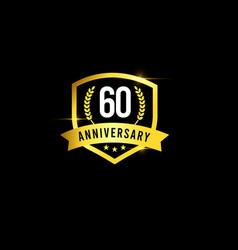 60 years anniversary gold emblem old design logo vector