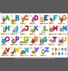 Alphabet with cartoon characters and objects set vector