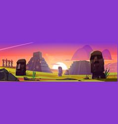Ancient mayan pyramids and moai statues at sunset vector