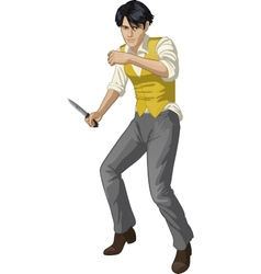 Asian brawling man cartoon character vector image