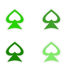 Assembly realistic sticker design on paper spades vector
