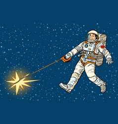 astronaut walks a star like a dog vector image