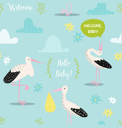 Baby shower seamless pattern with cute storks vector