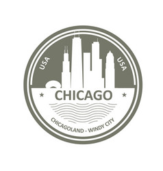 Badge with chicago skyline - chicago city emblem vector